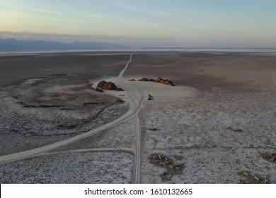 Ethiopian salt flats drone landscape