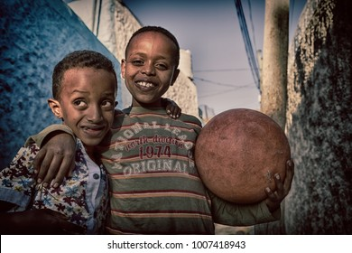 ETHIOPIA,TIGRAY-CIRCA  JANUARY 2018--  unidentified children and a ball concept of  friendship