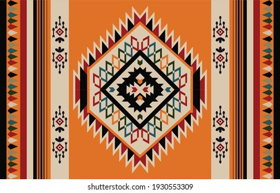 Ethnic Abstract Orange. Seamless pattern in tribal, folk embroidery, and Mexican style. Aztec geometric art ornament print.Design for carpet, wallpaper, clothing, wrapping, fabric, cover, textile - Shutterstock ID 1930553309