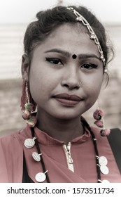 ethnic attire decorated in a beautiful way in the beautiful girl, Tharu dress, Indigenous tribe of Nepal