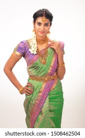 ethnic beautiful Indian woman in studio background