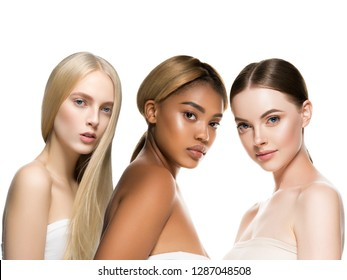 Ethnic beauty women group with different race hairstyle color skin beautiful female skin type