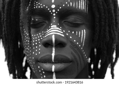 An ethnic black and white hight contrast portrait closeup