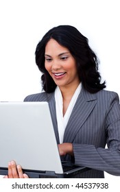 Ethnic businesswoman surfing the internet isolated on a white background