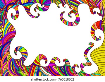 Ethnic colorful frame, decorative abstract background, doodle psychedelic style, raster card with place for text.