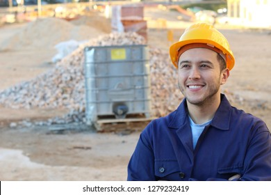 Ethnic construction worker with copy space