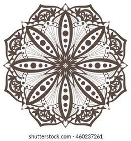 Ethnic decorative design element. Monochrome mandala symbol. Round abstract floral ornament.