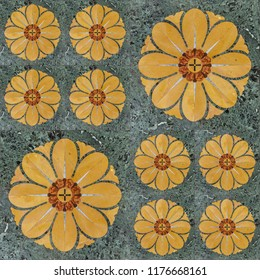 Ethnic Decorative seamless pattern of yellow flowers on a green background tiles in traditional and romantic style