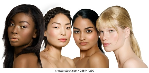 Ethnic diversity group of young women: African, Asian, Indian and Caucasian.