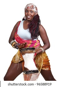 Ethnic drummer plays a small djembe drum