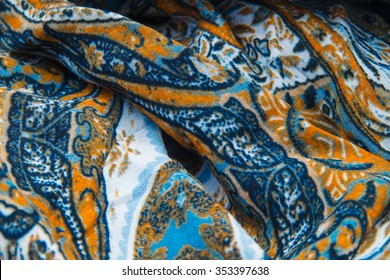 Ethnic fabric texture - brown and blue colors
