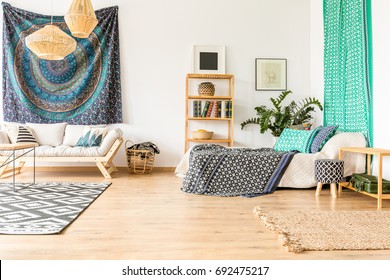 Ethnic flat interior in blue and turquoise