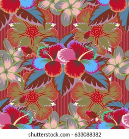 Ethnic floral seamless pattern in green and pink colors.