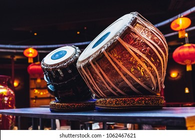 ethnic indian musical instrument tabla in the interior of the chill-out