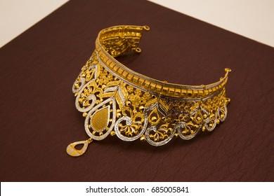 Ethnic Indian style, cut stones on gold base necklace