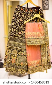 Ethnic indian women wear, beautiful floral designer bridal wedding dress - Image