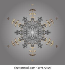 Ethnic of Lace Snowflakes. Design for Fabric or Wallpaper. Folk Style. Stylized Flowers. Lacy Fashion Print for Textile. Decorative Texture Background of Mandalas.