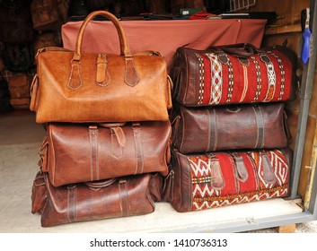 Ethnic leather travel bags handmade at a flea market