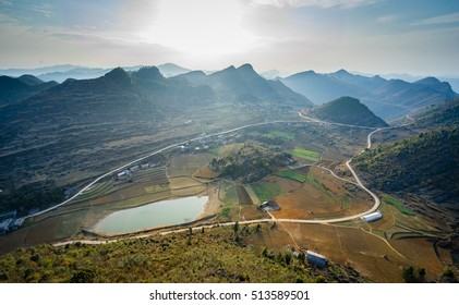 A ethnic minority village in Lung Cu, Hagiang view from high view