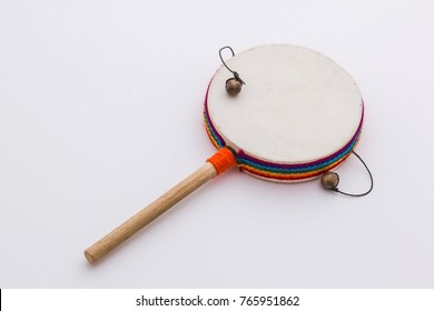 Ethnic musical instrument. Drum percussion instrument with a handle. Peru.