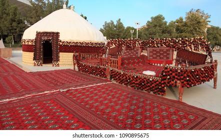 Ethnic nomadic yurt-building and trestle-bed, built for the celebration of Kurban-Bairam.