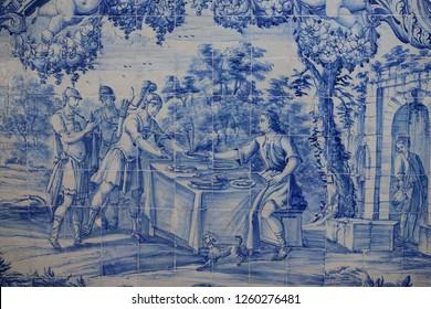 Ethnic pattern. Mediterranean seamless wallpaper. Portuguese azulezhu. Turkish ornament, Moroccan mosaic. Spanish porcelain. Ceramic dishes, folk print. Spanish tile Talavera