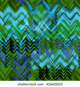 Ethnic pattern seamless. Tribal background. Chevron hand drawn illustration. Watercolor markers painting.