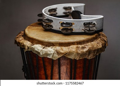 ethnic percussion musical instrument jembe and tambourine