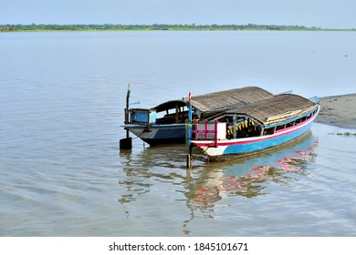 Ethnic River Island Boats Are Parked On The Bank Of The River Brahmaputra