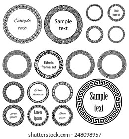 Ethnic round frames in mega pack. Decoration elements of different size with sample text in huge collection. Monochromatic raster version on white background