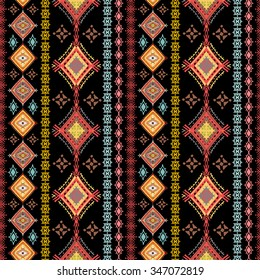 Ethnic seamless pattern. Ethno boho repeating ornament. Tribal art background. Abstract texture. Fabric, cloth design, wallpaper, wrapping