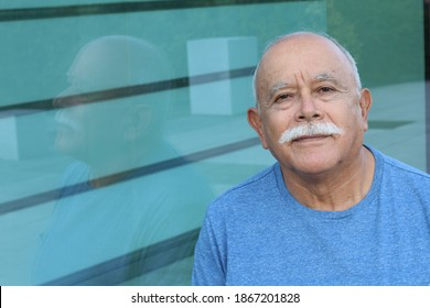 Ethnic senior man with a mustache