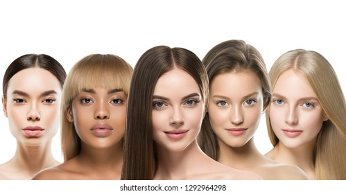 Ethnic women different skin hair race models beauty beautiful skin tone hairstyle isolated on white