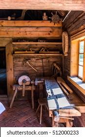 Ethnographic log house interior