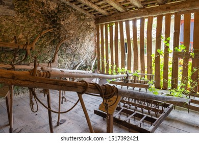 Ethnographic Museum of the East of Asturias, Spain, August 29, 2019. Old haystack with wooden plows