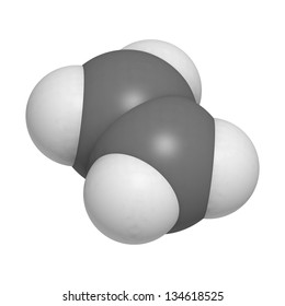 ethylene (ethene) plant hormone and polyethylene (PE) building block, molecular model. Atoms are represented as spheres with conventional color coding: hydrogen (white), carbon (grey)