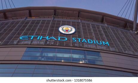Etihad stadium of Manchester City the famous football club - MANCHESTER / ENGLAND - JANUARY 1, 2019