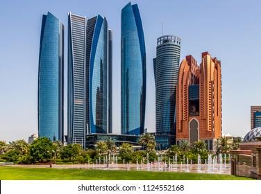 Etihad Towers and Abu Dhabi Skyline. Abu Dhabi - UAE. 21 April 2018