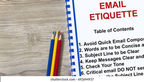 Etiquette on sending email concept- complete with topics of a lecture.