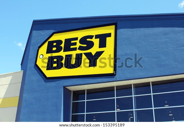 ETOBICOKE, CANADA - JULY 24: Best Buy store sign on July 24, 2013 in Etobicoke, Ontario, Canada. Best Buy is a multinational retail chain that sells all kinds of consumer electronics products.