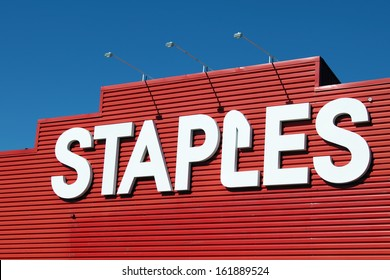 ETOBICOKE, CANADA - OCTOBER 11: Staples store sign on October 11, 2013 in Etobicoke, Ontario, Canada. Staples is a large office supply chain store, with over 2,000 stores worldwide in 26 countries.