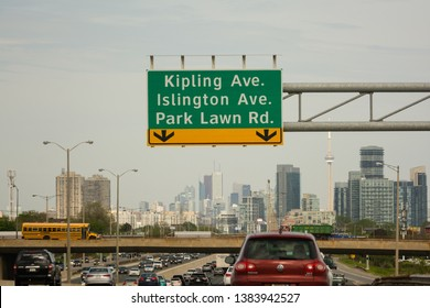 Etobicoke, ON, Canada - May 20 2018. View of Gardiner Expressway going east near Kipling ave.