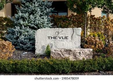Etobicoke, Toronto, Canada - October 24, 2020: The Vue event Venue sign in Etobicoke, Toronto, Canada. The Vue and Clubhouse EventSpace  byPeterandPauls.com is a hospitality event space.