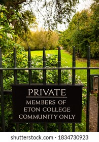 Eton, Berkshire/UK-10 10 2020: Grounds surrounding Eton College in Berkshire - one of the world's top boarding schools - contain a private garden for the exclusive use of the 'Eton College community'.