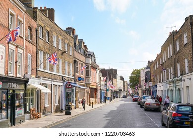 Eton/UK - September 2018: Eaton High Street filled with independent shops. Eaton is a popular tourist destination due to it's proximity to Windsor