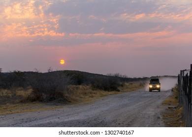 ETOSHA PAN, NAMIBIA - AUGUST 29, 2018: Desert safari in car at sunset of the day