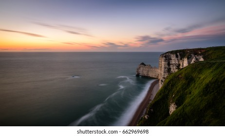 etretat cliff during sunset time at France