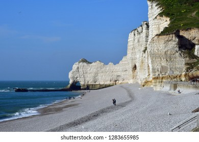 Etretat, France - may 10 2017 : the picturesque seaside town in summer