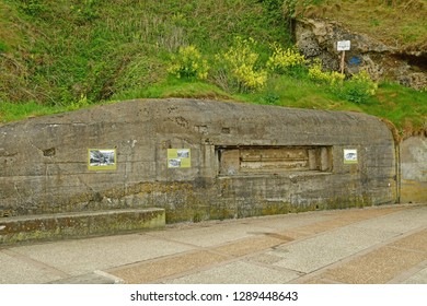 Etretat, France - may 10 2017 : the cliffs and blockhouse