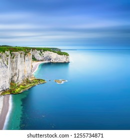 Etretat, rock cliff and beach. Long exposure photography. Aerial view. Normandy, France.